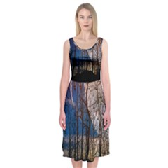 Full Moon Forest Night Darkness Midi Sleeveless Dress