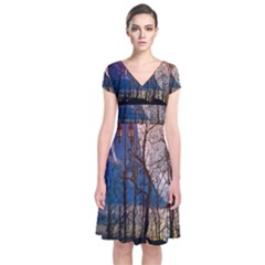 Full Moon Forest Night Darkness Short Sleeve Front Wrap Dress