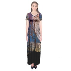 Full Moon Forest Night Darkness Short Sleeve Maxi Dress