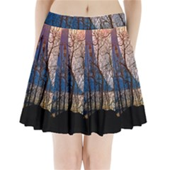 Full Moon Forest Night Darkness Pleated Mini Skirt
