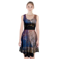 Full Moon Forest Night Darkness Racerback Midi Dress