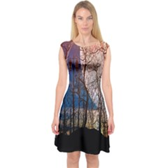 Full Moon Forest Night Darkness Capsleeve Midi Dress