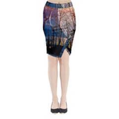 Full Moon Forest Night Darkness Midi Wrap Pencil Skirt