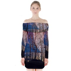 Full Moon Forest Night Darkness Long Sleeve Off Shoulder Dress