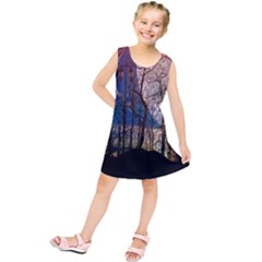 Full Moon Forest Night Darkness Kids  Tunic Dress