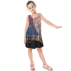 Full Moon Forest Night Darkness Kids  Sleeveless Dress