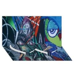 Graffiti Art Urban Design Paint  Twin Heart Bottom 3D Greeting Card (8x4)