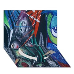 Graffiti Art Urban Design Paint  Circle Bottom 3D Greeting Card (7x5)