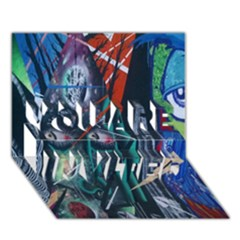 Graffiti Art Urban Design Paint  YOU ARE INVITED 3D Greeting Card (7x5)