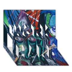Graffiti Art Urban Design Paint  WORK HARD 3D Greeting Card (7x5)