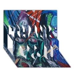 Graffiti Art Urban Design Paint  THANK YOU 3D Greeting Card (7x5)