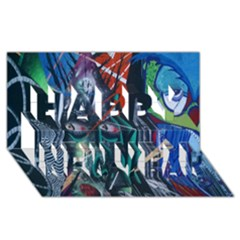 Graffiti Art Urban Design Paint  Happy New Year 3D Greeting Card (8x4)