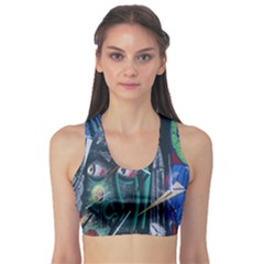 Graffiti Art Urban Design Paint  Sports Bra