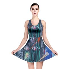 Graffiti Art Urban Design Paint  Reversible Skater Dress
