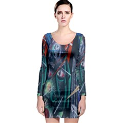 Graffiti Art Urban Design Paint  Long Sleeve Bodycon Dress