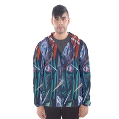 Graffiti Art Urban Design Paint  Hooded Wind Breaker (Men)