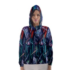 Graffiti Art Urban Design Paint  Hooded Wind Breaker (Women)