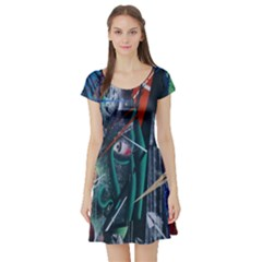 Graffiti Art Urban Design Paint  Short Sleeve Skater Dress