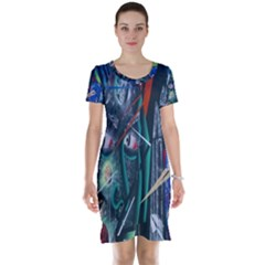 Graffiti Art Urban Design Paint  Short Sleeve Nightdress