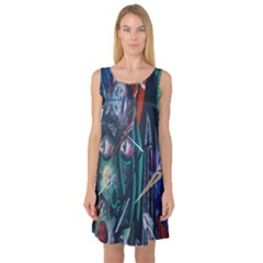 Graffiti Art Urban Design Paint  Sleeveless Satin Nightdress