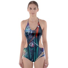 Graffiti Art Urban Design Paint  Cut-Out One Piece Swimsuit
