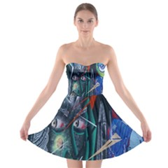 Graffiti Art Urban Design Paint  Strapless Bra Top Dress