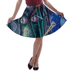 Graffiti Art Urban Design Paint  A-line Skater Skirt