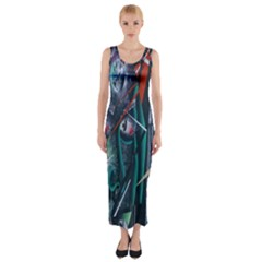 Graffiti Art Urban Design Paint  Fitted Maxi Dress