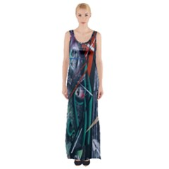 Graffiti Art Urban Design Paint  Maxi Thigh Split Dress
