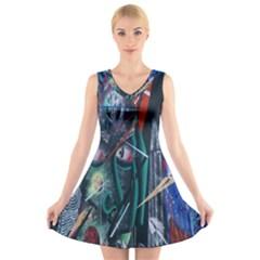 Graffiti Art Urban Design Paint  V-Neck Sleeveless Skater Dress