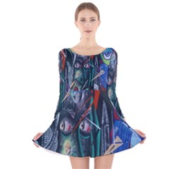 Graffiti Art Urban Design Paint  Long Sleeve Velvet Skater Dress