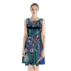 Graffiti Art Urban Design Paint  Sleeveless Chiffon Waist Tie Dress
