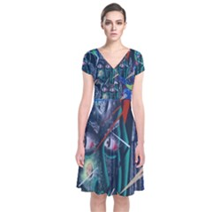 Graffiti Art Urban Design Paint  Short Sleeve Front Wrap Dress