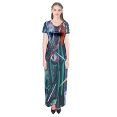 Graffiti Art Urban Design Paint  Short Sleeve Maxi Dress