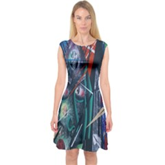 Graffiti Art Urban Design Paint  Capsleeve Midi Dress