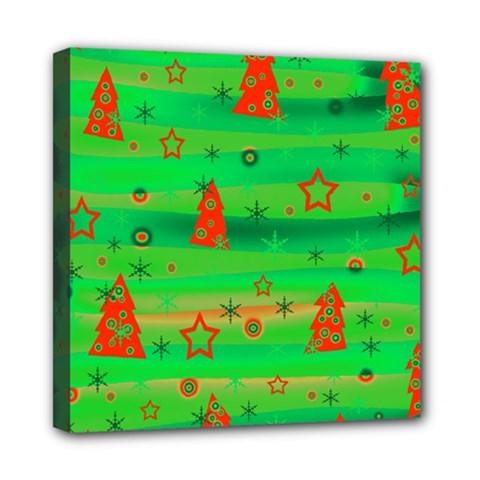 Green Xmas magic Mini Canvas 8  x 8