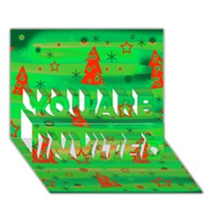 Green Xmas magic YOU ARE INVITED 3D Greeting Card (7x5)