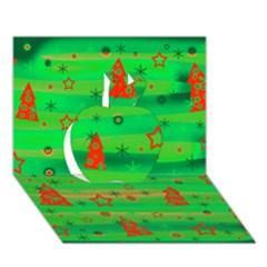 Green Xmas magic Apple 3D Greeting Card (7x5)