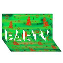 Green Xmas magic PARTY 3D Greeting Card (8x4)