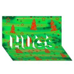 Green Xmas magic HUGS 3D Greeting Card (8x4)