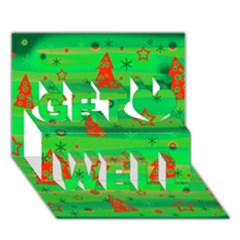 Green Xmas magic Get Well 3D Greeting Card (7x5)
