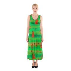 Green Xmas magic Sleeveless Maxi Dress