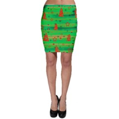 Green Xmas magic Bodycon Skirt