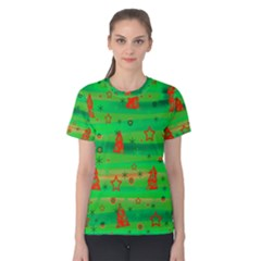 Green Xmas magic Women s Cotton Tee