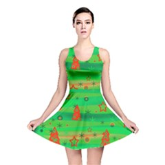 Green Xmas magic Reversible Skater Dress