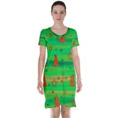 Green Xmas magic Short Sleeve Nightdress