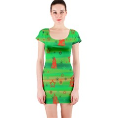 Green Xmas magic Short Sleeve Bodycon Dress