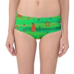 Green Xmas magic Mid-Waist Bikini Bottoms