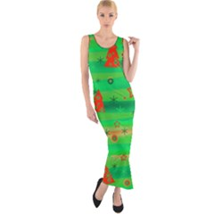 Green Xmas magic Fitted Maxi Dress