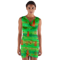 Green Xmas magic Wrap Front Bodycon Dress
